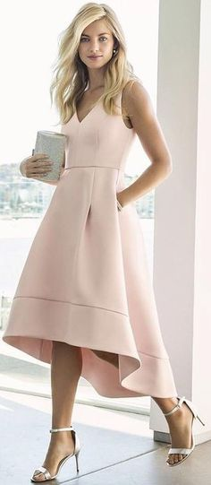 #summer #lovely #fashion | Nude High Low Prom Dress