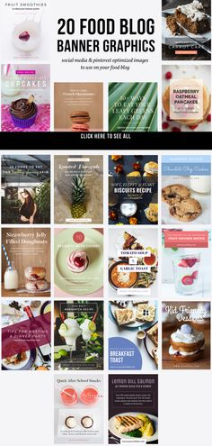 20 Food Blog Banner Graphics  by JannaLynnCreative on @creativemarket