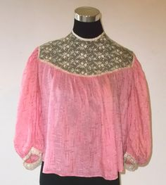 Edwardian Pink Silk Blouse with Lace Wearable by MyVintageHatShop, $75.00