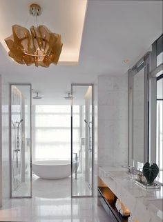 Awesome way to make use of narrow space to get both a tub and a separate shower.