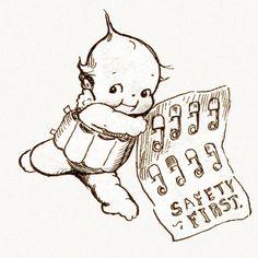 Kewpies Greeting Card Kewpie with Safety Pins