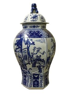 Chinese Blue White Hexagon Porcelain Temple General Jar cs2401S