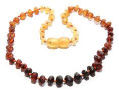 Genuine Raw Baltic Beads Amber Teething Necklace for Baby Rainbow #Handmade
