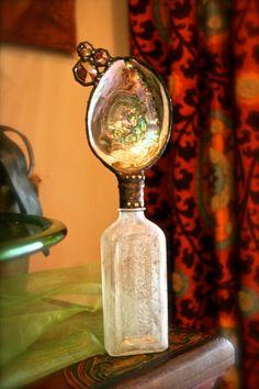 Www.etsy.com/shop/tresorbleu Shell bottle made from vintage vessel soldered free hand for you!