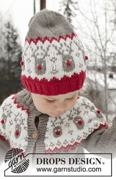 Run Run Rudolph Hat / DROPS Children - Free knitting patterns by DROPS Design, Run Run Rudolph Hat / DROPS Children - Knitted hat for children in DROPS Merino Extra Fine with Nordic pattern. Easy Knitting Projects, Knitting For Kids, Baby Knitting Patterns, Free Knitting, Crochet Patterns, Drops Design, Reindeer Hat, Christmas Knitting, Christmas Beanie