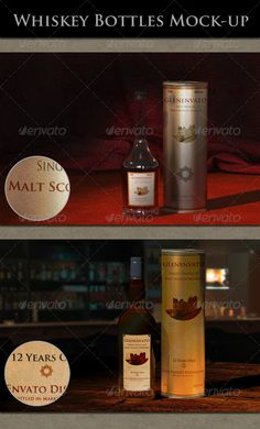 Whiskey Bottles Mock-up  #GraphicRiver         Show off your label design with this Whiskey Bottles Mock-up. Two scenes, red carpet and lounge bar scene, each with two kinds of Whiskey bottles. The bottles-can is hideable by switched off the layer in Photoshop.  Smart Object layers for labels design. You can edit the smart object layers or remove them completely and place your own graphics inside. Perspective, shadow and light effects are not be altered, the smart-object in the main file…