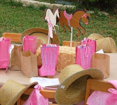 Cute boot favor bags and cute style of number cut-outs Meaningful Menagerie: Audrey's Cowgirl/Western/Horse themed Birthday party! Horse Birthday Parties, 5th Birthday Party Ideas, Cowgirl Birthday, Third Birthday, Horse Party Decorations, Birthday Party Decorations, Cowboy Party, Cowboy Theme, Pony Party
