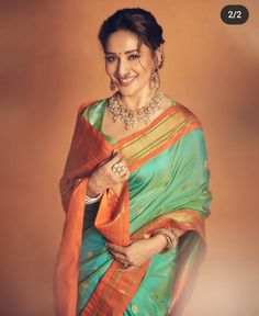Pistachio Color, Loose Buns, Madhuri Dixit, Saree Look, Bindi, Dead Gorgeous, Traditional Sarees, Indian Attire, Celebs