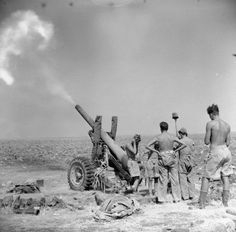 NORTH AFRICA 5.5-inch gun of 212nd Medium Regiment, Royal Artillery, in action, 23 July 1943