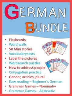 This bundle contains the following individual sets:German FlashcardsGerman Word WallsGerman LabelingGerman Verbs - Conjugation PracticeGerman Vocabulary Tests and Wordsearch PuzzlesEasy Reading Texts and WorksheetsHow to properly address people in GermanGerman reading comprehension/50 Mini storiesTest your German/ gender, articles, pluralGerman grammar games / NominativGerman grammar games / AkkusativEasy Reader - Die kleine rote Henne