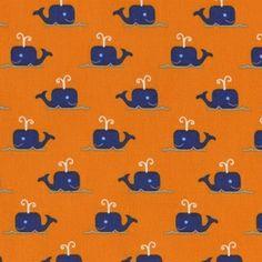 Dear Stella House Designer - All Hands on Deck - Whales in Orange ELEM Curtains?