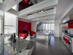 Million Dollar Rooms: Urban Loft's kitchen has a mirrored ceiling.