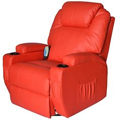 HomCom Heating Vibrating PU Leather Massage Recliner Chair  Red >>> Want additional info? Click on the image. (This is an affiliate link) #LivingRoomFurniture