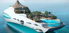 The fascinating tropical island yacht project is designed by the UK based yacht design company Yacht Island Designs. The floating tropical island would be Yacht Design, Super Yachts, Dream Vacations, Vacation Spots, Most Expensive Yacht, Places To Travel, Places To See, Tropical Island, Yacht Cruises