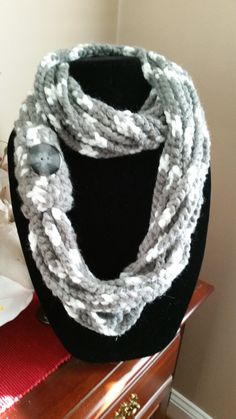 Gray and White Blended Infinity Scarf with Button by SittisHands