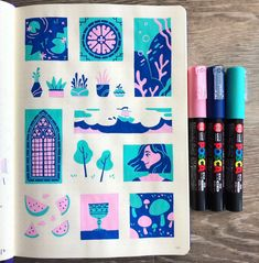 """""""devoted a page in my sketchbook to small drawings w/ posca pens to see what I could come up with using only 3 colors:"""" Kunstjournal Inspiration, Illustration Inspiration, Illustration Design Graphique, Sketchbook Inspiration, Illustration Art, Medical Illustration, Molotow Marker, Posca Marker, Marker Art"""