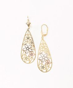 Another great find on #zulily! Gold Tri-Tone Cutout Gold Teardrop Earrings #zulilyfinds