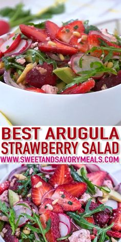 Arugula Strawberry Salad gives a nice twist to strawberries by combining greens and a perfect vinaigrette dressing that will surely be a hit this summer! recipes Arugula Strawberry Salad Recipe - Sweet and Savory Meals Arugula Salad Recipes, Best Salad Recipes, Vegetarian Recipes, Cooking Recipes, Strawberry Salad Recipes, Medeteranian Recipes, Strawberry Fields Salad, Easter Recipes, Easy Summer Meals