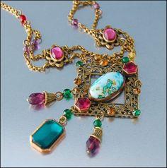 Foil Glass Jeweled Gilt Brass Czech Art Deco Necklace
