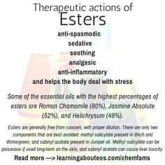 (Esters)Chemical Families, Therapeutic Properties, and Safety Considerations Essential Oils 101, Young Living Essential Oils, Essential Oil Blends, Yl Oils, Dealing With Stress, Essentials, Alternative Energy, Alternative Medicine, Natural Healing