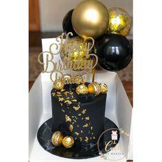 Black And Gold Birthday Cake, 30th Birthday Cake For Women, Black And Gold Cake, 25th Birthday Cakes, Birthday Cake For Boyfriend, Birthday Ideas, 21 Birthday, Black Gold, Black And Gold Balloons