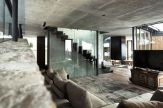 Living Room, Glass & Wood Stairs, Modern Home in the Mountains, Kitzbühel, Austria