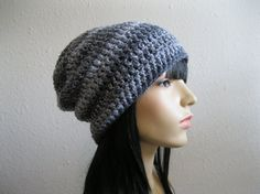 Crocheted Slouchy Beanie Hat Winter Hat by yarnmeditations on Etsy