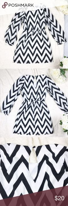 My Michelle Black & White Chevron Dress My Michelle Black & White Chevron Dress Size Medium Only worn once! Excellent condition! My Michelle Dresses Long Sleeve