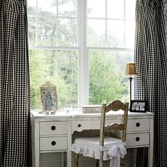 Black And White Gingham Curtains - Design is such a creative undertaking that it is no wonder each and every great and Gingham Curtains, Gingham Decor, Red Gingham, Desk Areas, White Cottage, Industrial Chic, Southern Living, Country Decor, Window Treatments