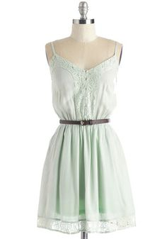 Rockin' On a Dream Dress - Mid-length, Woven, Mint, Solid, Buttons, Lace, Belted, Casual, Sundress, Festival, A-line, Spaghetti Straps, Spring, Pockets, Pastel