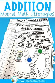 Make homework for your year 1 or second grade kiddos fun by sending home math strategy games. These math games are perfect for mental math practice. Such an easy way for students to learn math strategies for addition and subtraction and have fun doing it!#homeworkideas #mathgames