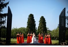 Women on Fire: The bridesmaids are bold and beautiful in fiery, true red, floor length gowns.
