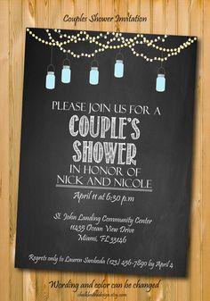 Printable Couples Shower invitation, custom Party invitation, custom chalkboard…