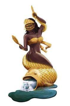 Yeye Oshun oh … Mais Black Girl Art, Black Women Art, Black Girl Magic, African Mythology, African Goddess, Oshun Goddess, Goddess Art, Black Mermaid, Mermaid Art