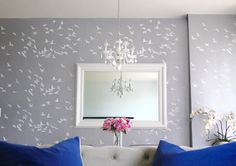 Use our beautiful Flock of Cranes stencil for your next DIY decor project. We offer large modern stencils for DIY decorators. Try stencils instead of wall decals or wallpaper! Choose from our selection of easy to use, sturdy, reusable wall stencils for gr Large Wall Stencil, Large Stencils, Stencil Diy, Stencil Walls, Wall Stencil Patterns, Stencil Designs, Plum Walls, Bird Flock, Cutting Edge Stencils