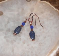 Handcrafted Iolite and Copper Pierced Earrings by TrendyCharm, $6.00