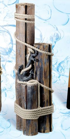 Decorative Nautical Pilings with Rope & Anchor More