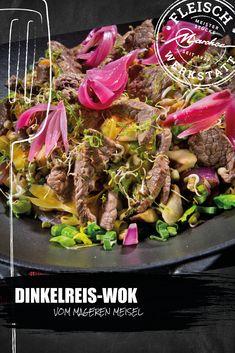 Kräftige, asiatische Aromen und zartes Gemüse für ein einfaches Pfannengericht vom Mageren Meisel, das durch intensiven Geschmack überzeugen kann. Wok, Rice, Meat, Easy Meals, Food Recipes