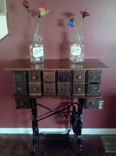 Repurposed Tabletop Storage Unit Vintage Sewing Drawers and Treadle.