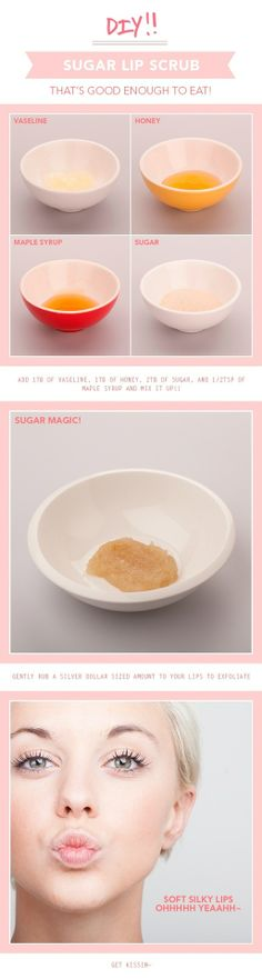 DIY Sugar Lip Scrub: you can substitue the vaseline for coconut oil.
