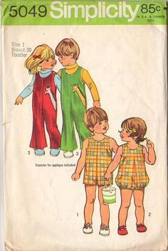 Vintage 1970s Simplicity Sewing Pattern 5049 Toddler Jumpsuit and Bubblesuit Size 1