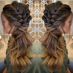 Boa noite ✨✨ by . Homecoming Hairstyles, Wedding Hairstyles For Long Hair, Braids For Long Hair, Side Ponytail Hairstyles, Down Hairstyles, Pretty Hairstyles, Hairstyles 2018, Wedding Hair Side, Wedding Hair And Makeup