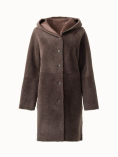 Akris® Official – Reversible Shearling and Leather Coat Hand Warmers, Taupe, Fur Coat, Fall Winter, Leather, How To Wear, Jackets, Hands, Buttons