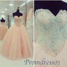 Ball gown, beautiful beaded blush pink chiffon prom dress, 2016 sweetheart neckline high waist evening dress #coniefox #2016prom