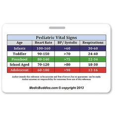 Peds Vital Signs. ID badge, perfect for EMTs, Paramedics, Nurses, and students