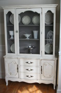 Furniture, : BEautiful And Affordable Classic White Wooden Chinese Cabinet And Hutch With Beautiful Golden Ornament Decoration