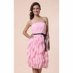 Sheath/ Column Strapless Knee-length Chiffon Bridesmaid Dress