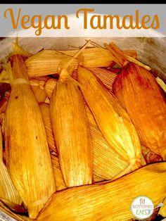 Tamales without the lard — and they're vegan! Mexican Food Recipes, Whole Food Recipes, Vegetarian Recipes, Cooking Recipes, Vegan Tamales, Vegetarian Tamales, Comida Boricua, Roh Vegan, Comida Latina