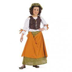 Conviérte a la más peque de la casa en una preciosa Tabernera Medieval con este disfraz para niña de alta calidad 100% hecho en España con los mejores tejidos y confección.