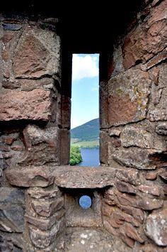 Urquhart Castle, Loch Ness, Scotland. Arrow Window in Castle